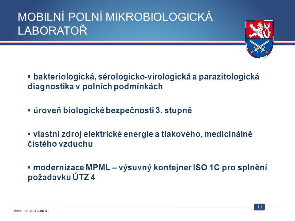 MINISTERSTVO OBRANY ČR MOBILNÍ POLNÍ MIKROBIOLOGICKÁ LABORATOŘ  bakteriologická, sérologicko-virologická a parazitologická diagnostika v polních podmínkách  úroveň biologické bezpečnosti 3.