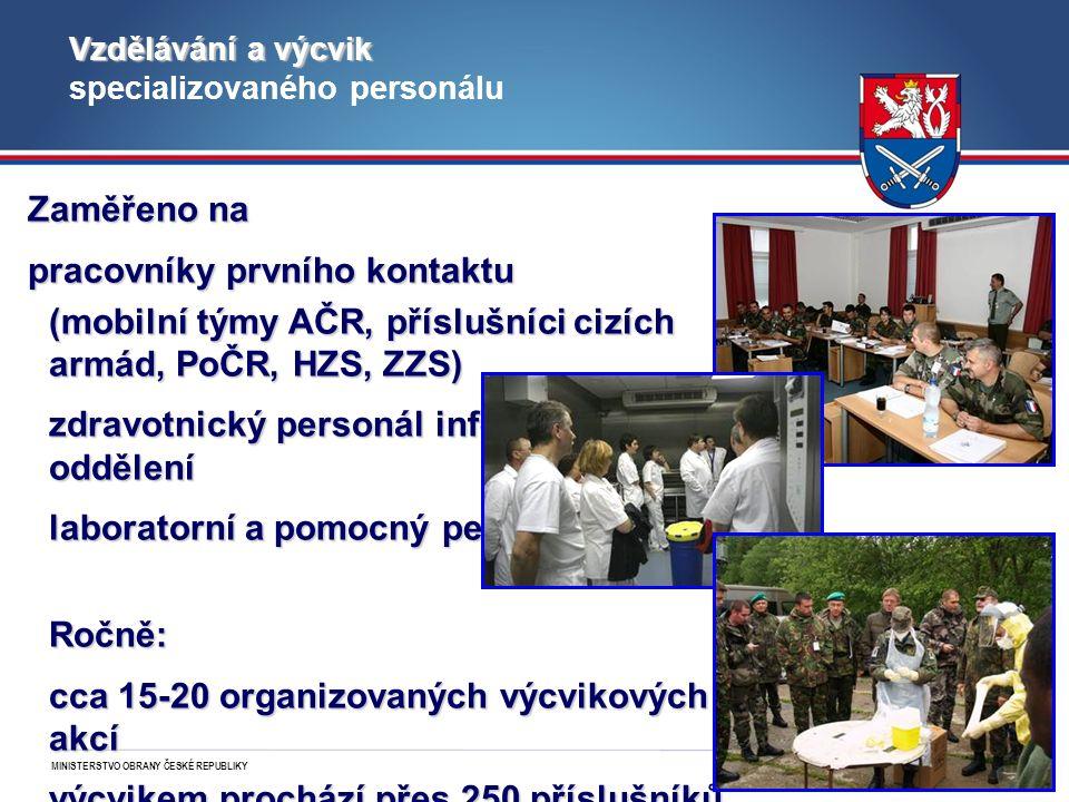MINISTERSTVO OBRANY ČESKÉ REPUBLIKY 24 Vzdělávání a výcvik Vzdělávání a výcvik specializovaného personálu Zaměřeno na pracovníky prvního kontaktu (mobilní týmy AČR, příslušníci cizích armád, PoČR, HZS, ZZS) zdravotnický personál infekčních oddělení laboratorní a pomocný personál Ročně: cca 15-20 organizovaných výcvikových akcí výcvikem prochází přes 250 příslušníků AČR a 50-100 osob z civilního sektoru
