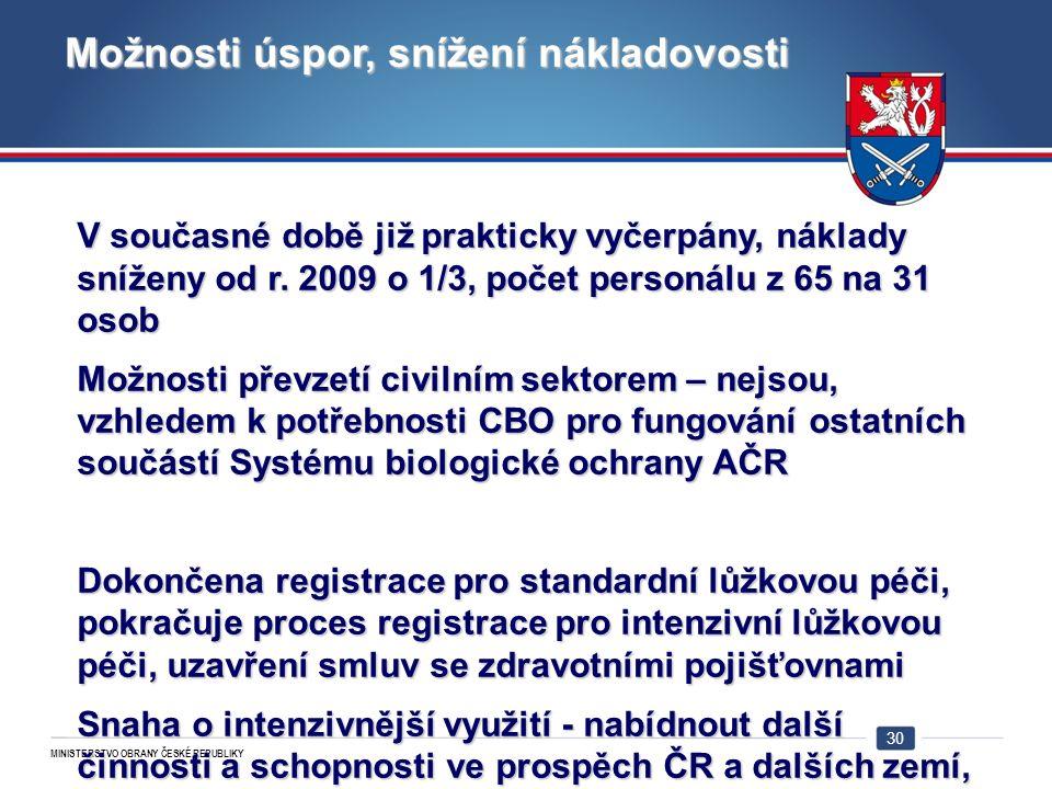 MINISTERSTVO OBRANY ČESKÉ REPUBLIKY 30 Možnosti úspor, snížení nákladovosti V současné době již prakticky vyčerpány, náklady sníženy od r.