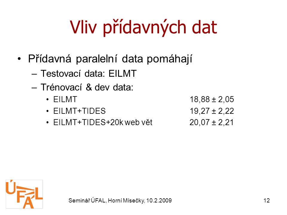 Seminář ÚFAL, Horní Mísečky, 10.2.200912 Vliv přídavných dat Přídavná paralelní data pomáhají –Testovací data: EILMT –Trénovací & dev data: EILMT18,88 ± 2,05 EILMT+TIDES19,27 ± 2,22 EILMT+TIDES+20k web vět20,07 ± 2,21