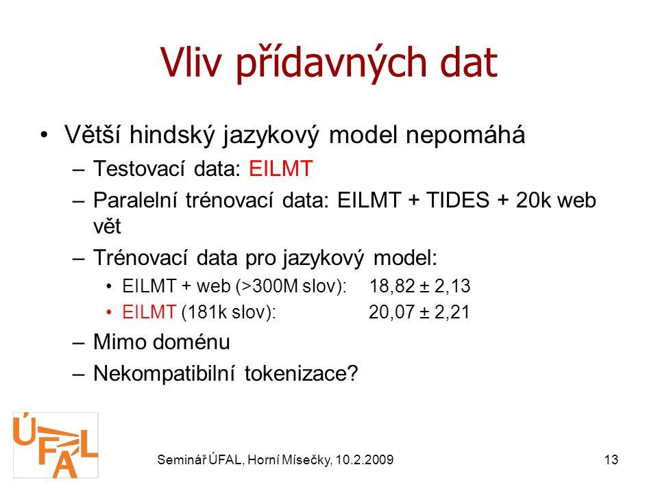 Seminář ÚFAL, Horní Mísečky, 10.2.200913 Vliv přídavných dat Větší hindský jazykový model nepomáhá –Testovací data: EILMT –Paralelní trénovací data: EILMT + TIDES + 20k web vět –Trénovací data pro jazykový model: EILMT + web (>300M slov):18,82 ± 2,13 EILMT (181k slov):20,07 ± 2,21 –Mimo doménu –Nekompatibilní tokenizace?
