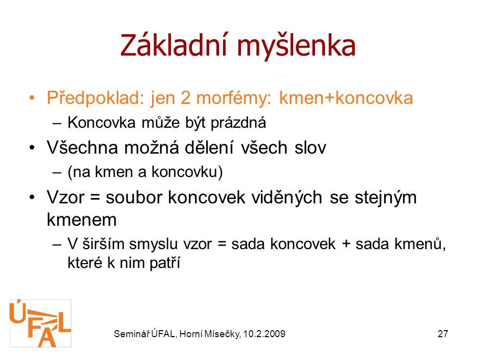 Seminář ÚFAL, Horní Mísečky, 10.2.200927 Základní myšlenka Předpoklad: jen 2 morfémy: kmen+koncovka –Koncovka může být prázdná Všechna možná dělení všech slov –(na kmen a koncovku) Vzor = soubor koncovek viděných se stejným kmenem –V širším smyslu vzor = sada koncovek + sada kmenů, které k nim patří
