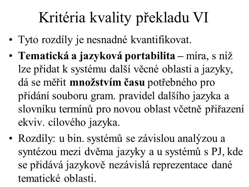 Kritéria kvality překladu VI Tyto rozdíly je nesnadné kvantifikovat.