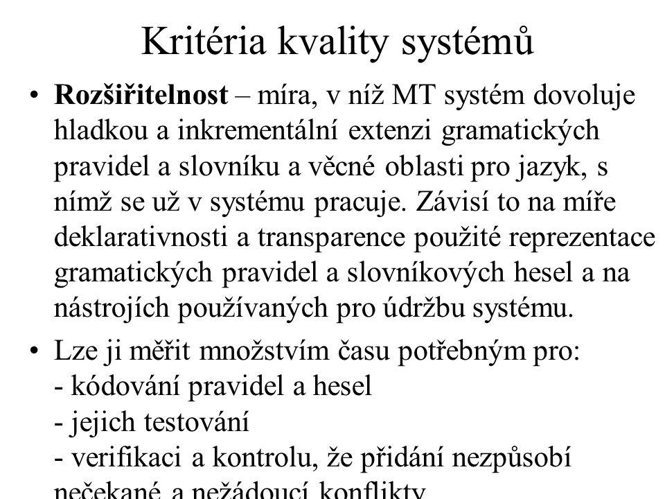 Kritéria kvality systémů Rozšiřitelnost – míra, v níž MT systém dovoluje hladkou a inkrementální extenzi gramatických pravidel a slovníku a věcné oblasti pro jazyk, s nímž se už v systému pracuje.