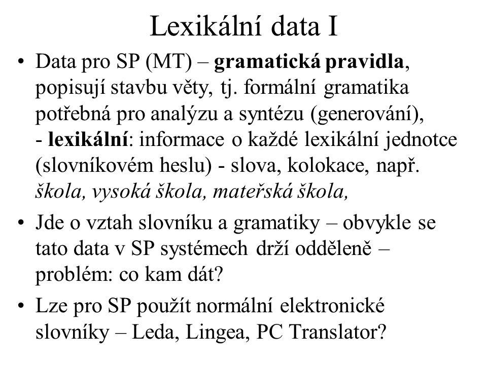 Lexikální data I Data pro SP (MT) – gramatická pravidla, popisují stavbu věty, tj.