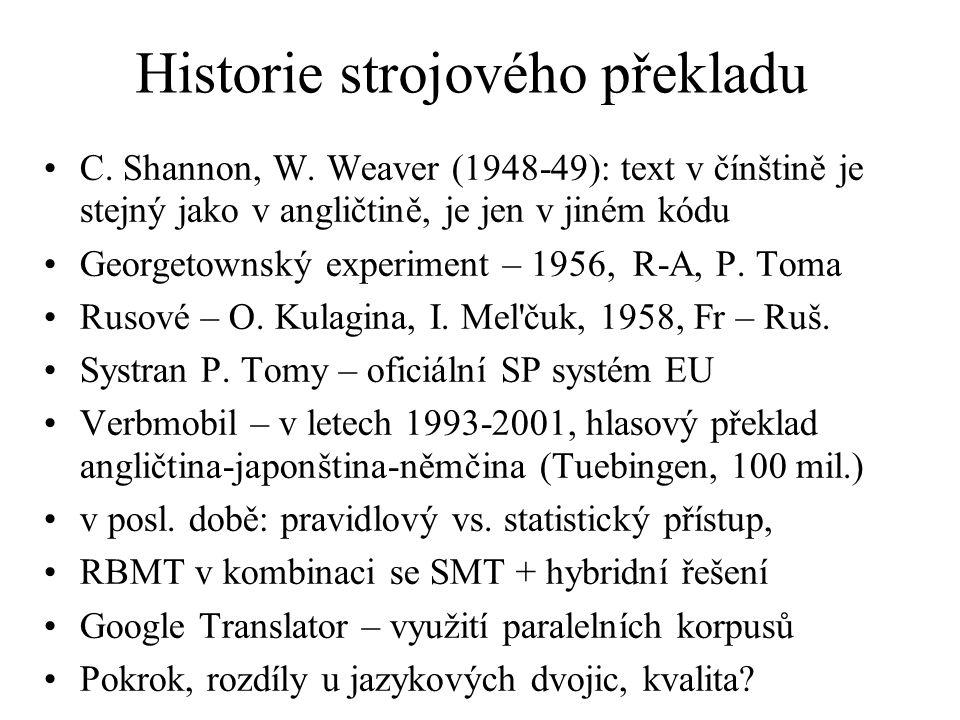 Historie strojového překladu C. Shannon, W.