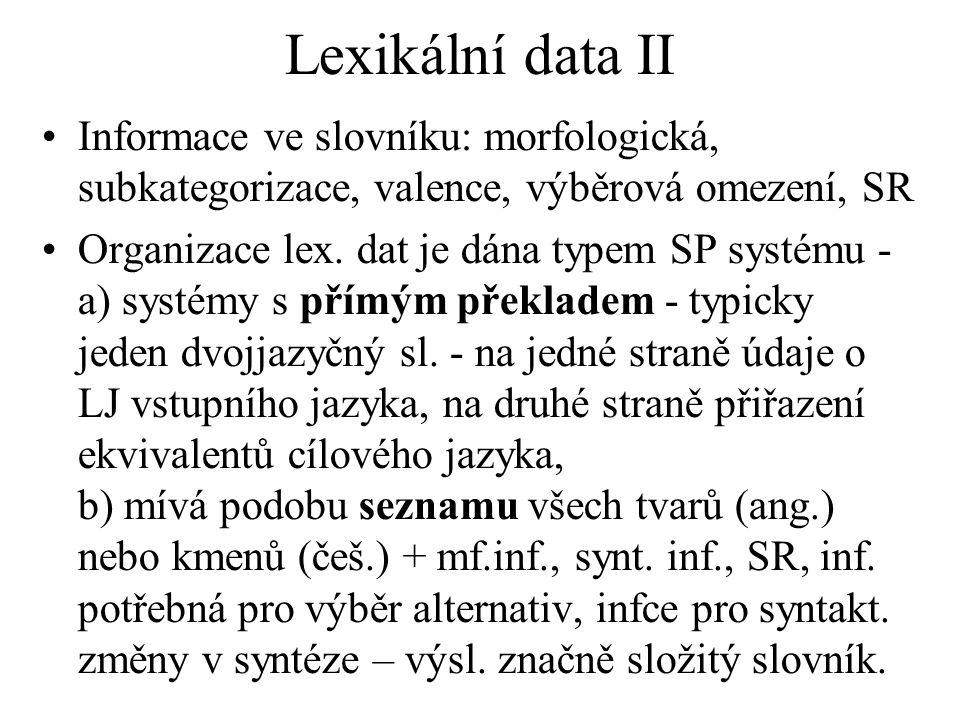 Lexikální data II Informace ve slovníku: morfologická, subkategorizace, valence, výběrová omezení, SR Organizace lex.