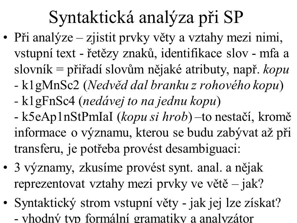 Syntaktická analýza při SP Při analýze – zjistit prvky věty a vztahy mezi nimi, vstupní text - řetězy znaků, identifikace slov - mfa a slovník = přiřadí slovům nějaké atributy, např.