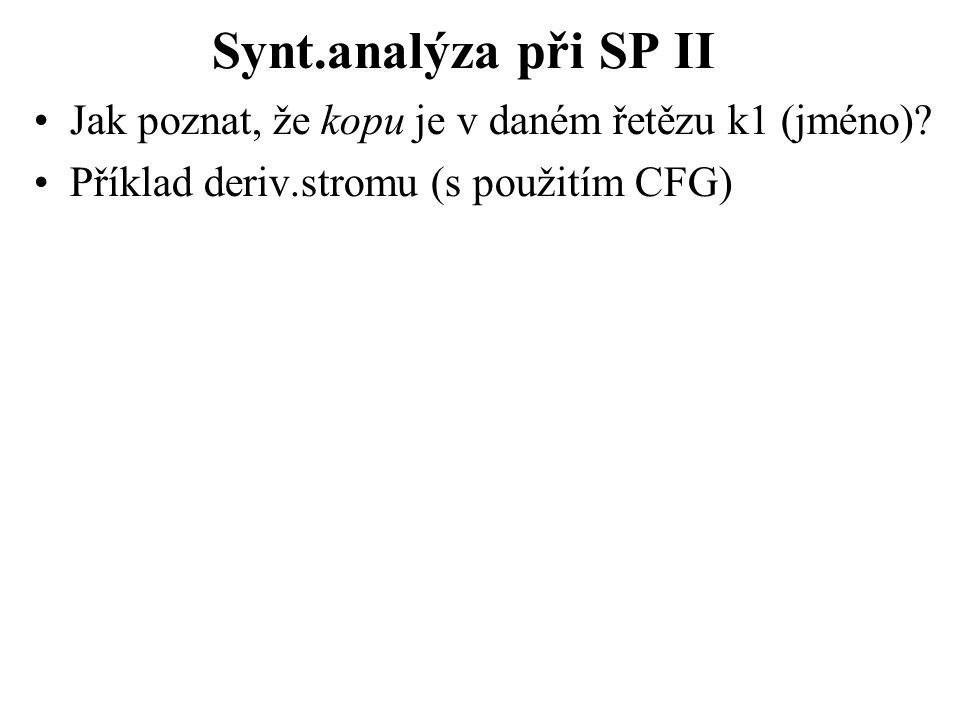 Synt.analýza při SP II Jak poznat, že kopu je v daném řetězu k1 (jméno).