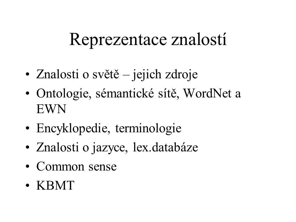 Reprezentace znalostí Znalosti o světě – jejich zdroje Ontologie, sémantické sítě, WordNet a EWN Encyklopedie, terminologie Znalosti o jazyce, lex.databáze Common sense KBMT