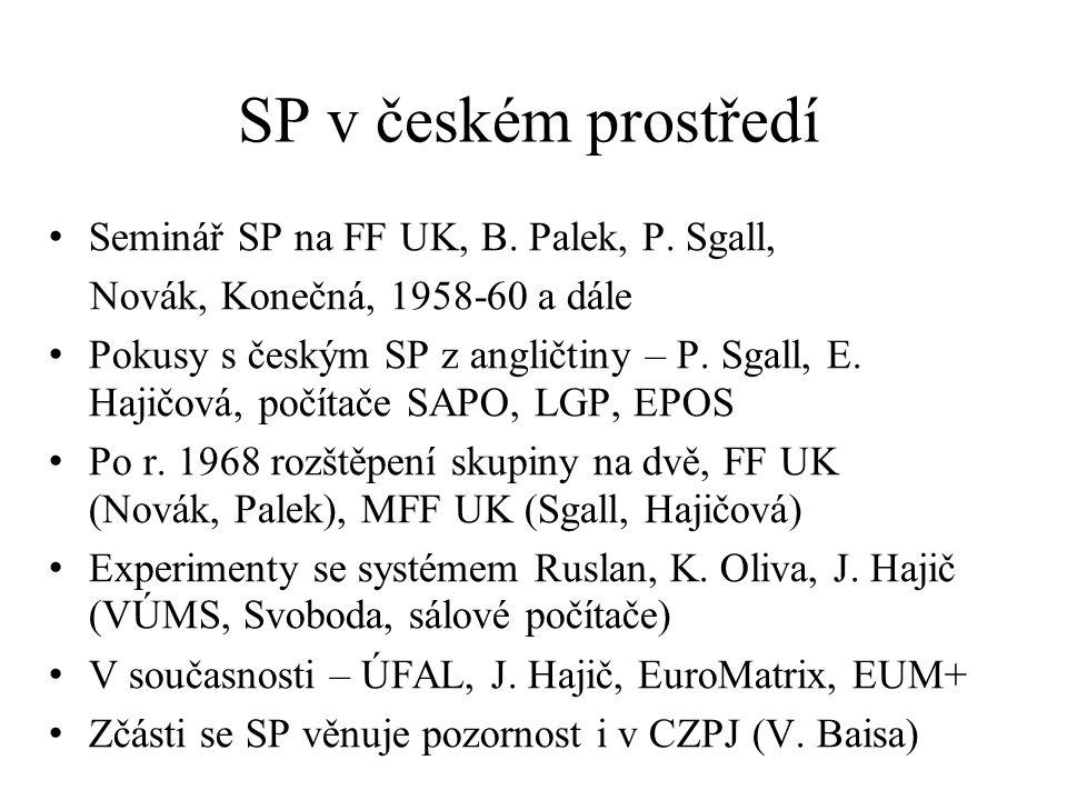 SP v českém prostředí Seminář SP na FF UK, B. Palek, P.