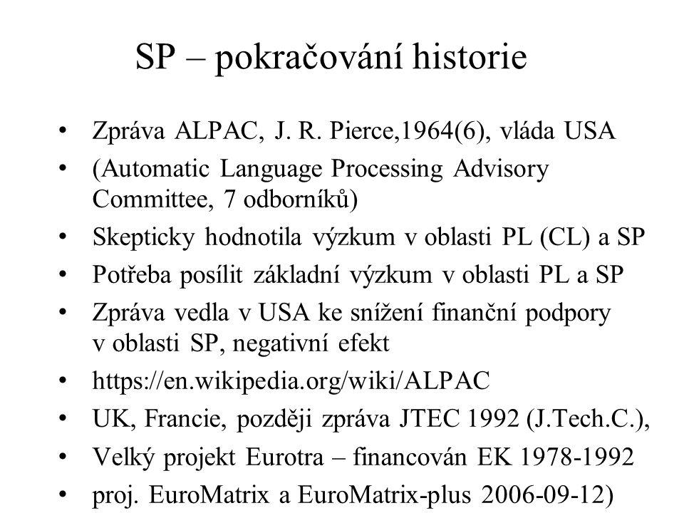 SP – pokračování historie Zpráva ALPAC, J. R.