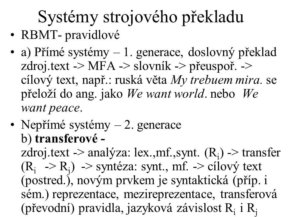 Systémy strojového překladu RBMT- pravidlové a) Přímé systémy – 1.