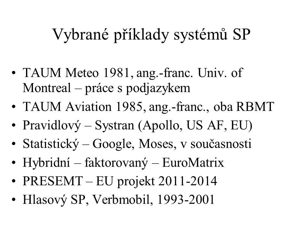 Vybrané příklady systémů SP TAUM Meteo 1981, ang.-franc.