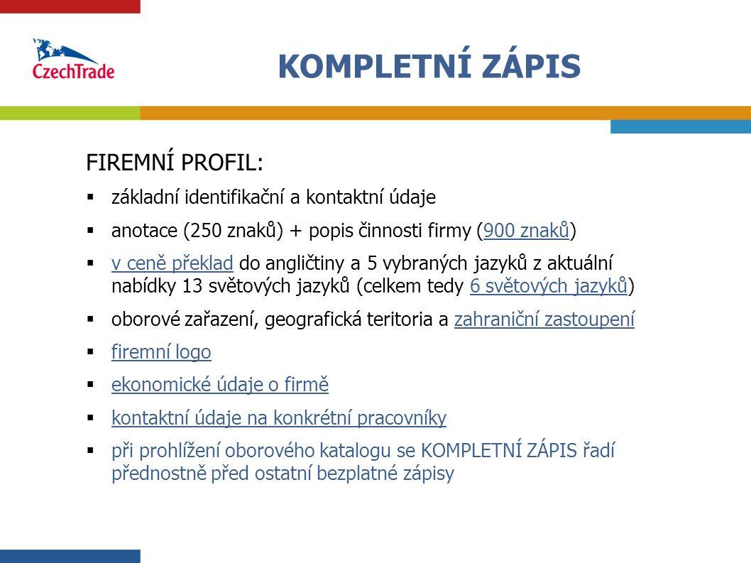 3 KOMPLETNÍ ZÁPIS FIREMNÍ PROFIL:  základní identifikační a kontaktní údaje  anotace (250 znaků) + popis činnosti firmy (900 znaků)  v ceně překlad
