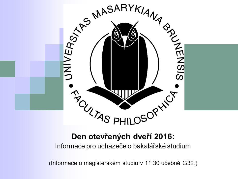 Den otevřených dveří 2016: Informace pro uchazeče o bakalářské studium (Informace o magisterském studiu v 11:30 učebně G32.)