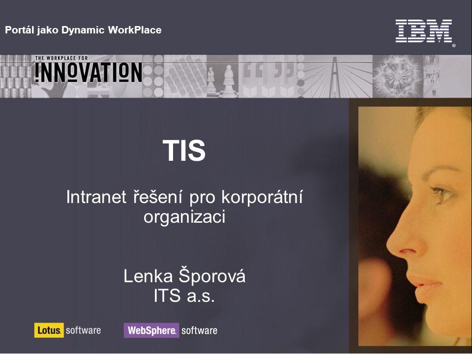 Portál jako Dynamic WorkPlace TIS Intranet řešení pro korporátní organizaci Lenka Šporová ITS a.s.