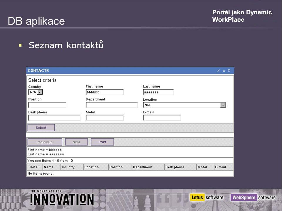 Portál jako Dynamic WorkPlace DB aplikace  Seznam kontaktů