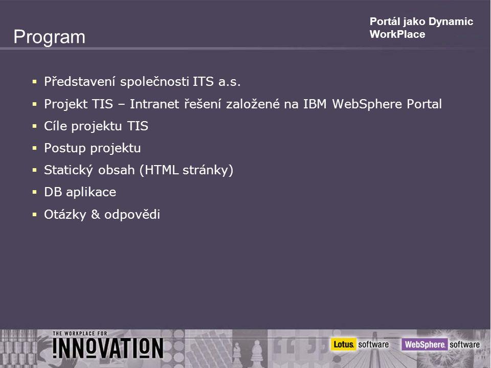 Portál jako Dynamic WorkPlace Program  Představení společnosti ITS a.s.