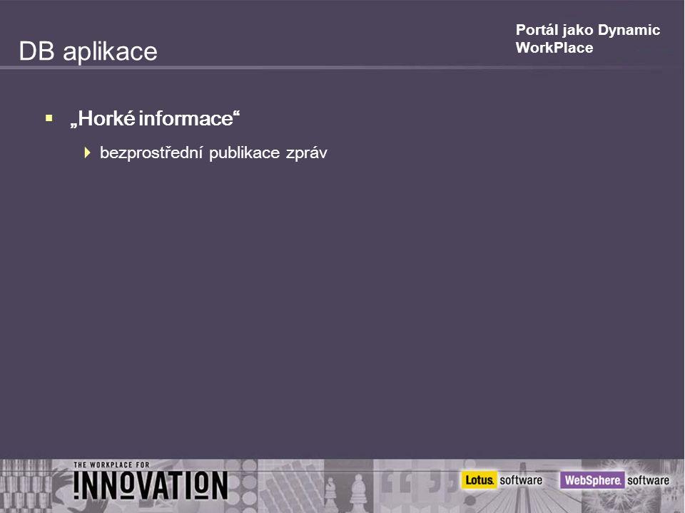 """DB aplikace  """"Horké informace  bezprostřední publikace zpráv"""