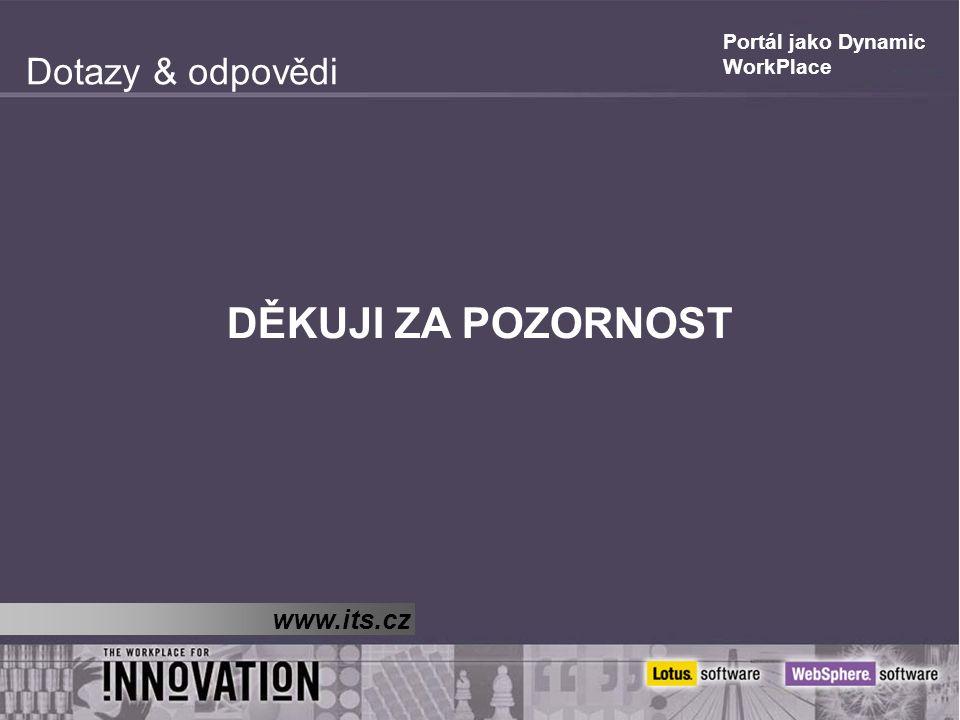 Portál jako Dynamic WorkPlace Dotazy & odpovědi DĚKUJI ZA POZORNOST www.its.cz
