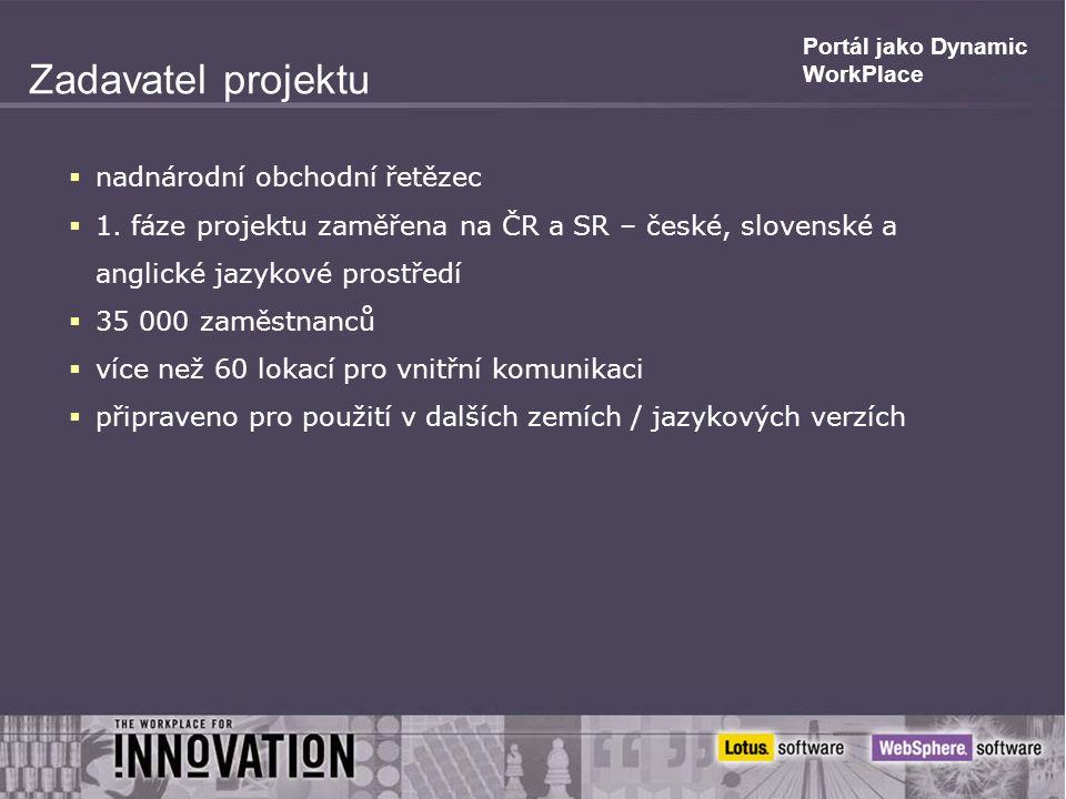 Portál jako Dynamic WorkPlace Zadavatel projektu  nadnárodní obchodní řetězec  1.