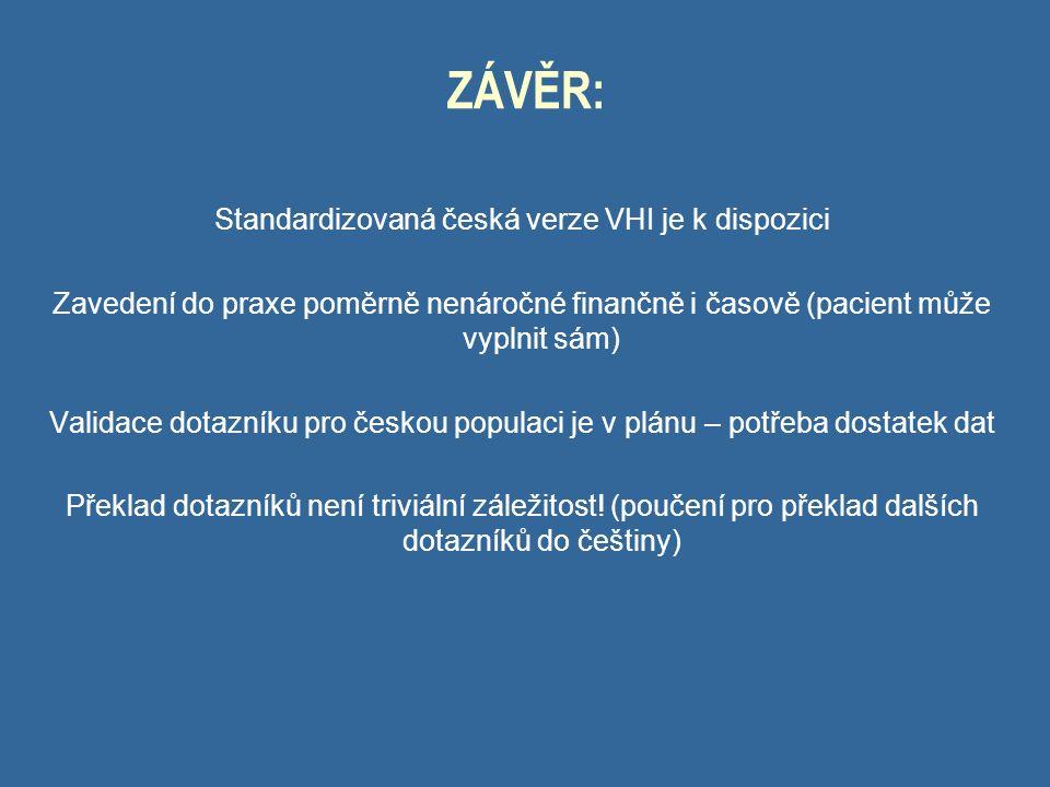 ZÁVĚR: Standardizovaná česká verze VHI je k dispozici Zavedení do praxe poměrně nenáročné finančně i časově (pacient může vyplnit sám) Validace dotazníku pro českou populaci je v plánu – potřeba dostatek dat Překlad dotazníků není triviální záležitost.