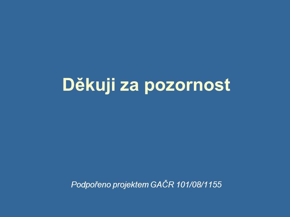 Děkuji za pozornost Podpořeno projektem GAČR 101/08/1155