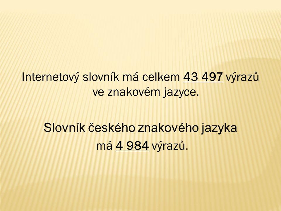 Internetový slovník má celkem 43 497 výrazů ve znakovém jazyce.
