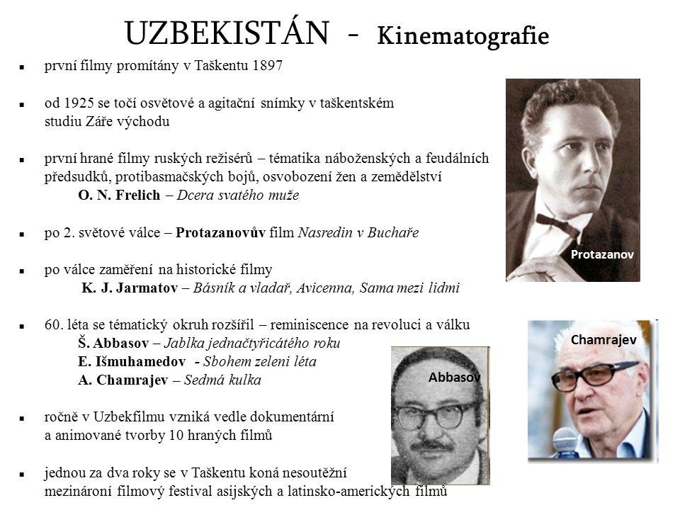 UZBEKISTÁN - Kinematografie první filmy promítány v Taškentu 1897 od 1925 se točí osvětové a agitační snímky v taškentském studiu Záře východu první h