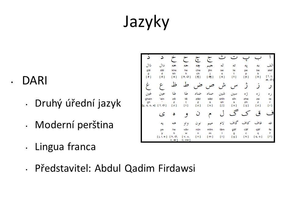 Jazyky DARI Druhý úřední jazyk Moderní perština Lingua franca Představitel: Abdul Qadim Firdawsi