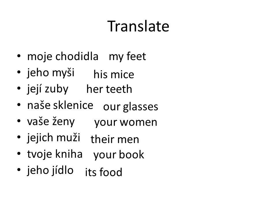 Translate moje chodidla jeho myši její zuby naše sklenice vaše ženy jejich muži tvoje kniha jeho jídlo my feet his mice her teeth our glasses your wom