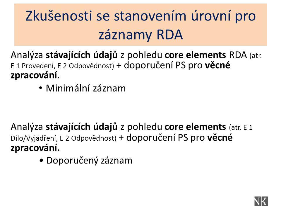 Zkušenosti se stanovením úrovní pro záznamy RDA Analýza stávajících údajů z pohledu core elements RDA (atr.