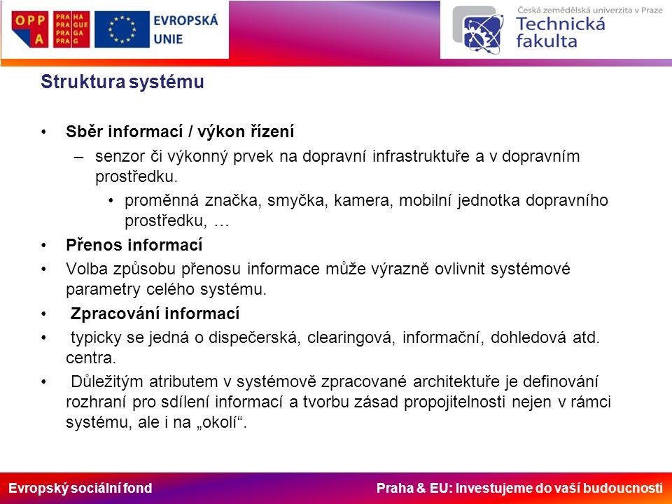 Evropský sociální fond Praha & EU: Investujeme do vaší budoucnosti Struktura systému Sběr informací / výkon řízení –senzor či výkonný prvek na dopravní infrastruktuře a v dopravním prostředku.