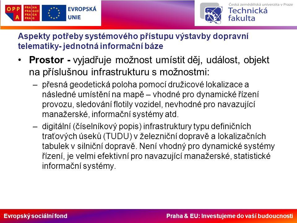 Evropský sociální fond Praha & EU: Investujeme do vaší budoucnosti Aspekty potřeby systémového přístupu výstavby dopravní telematiky- jednotná informační báze Prostor - vyjadřuje možnost umístit děj, událost, objekt na příslušnou infrastrukturu s možnostmi: –přesná geodetická poloha pomocí družicové lokalizace a následné umístění na mapě – vhodné pro dynamické řízení provozu, sledování flotily vozidel, nevhodné pro navazující manažerské, informační systémy atd.