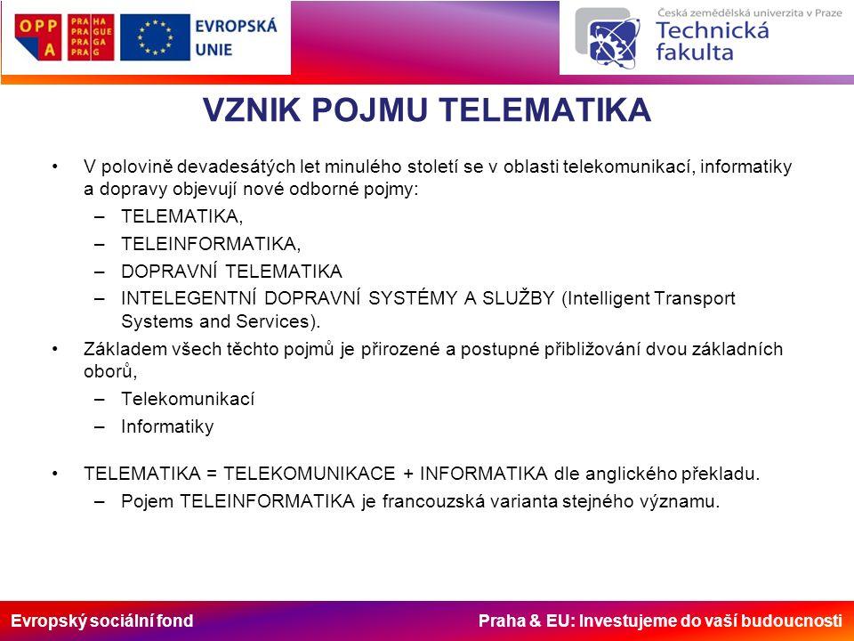 Evropský sociální fond Praha & EU: Investujeme do vaší budoucnosti TELEMATIKA