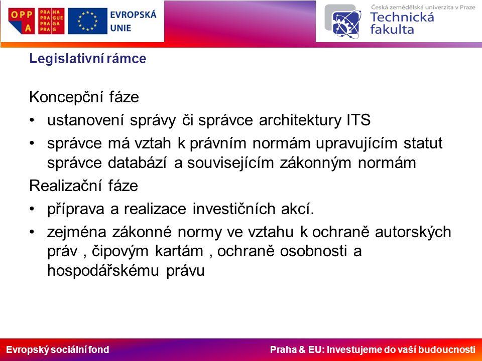 Evropský sociální fond Praha & EU: Investujeme do vaší budoucnosti Legislativní rámce Koncepční fáze ustanovení správy či správce architektury ITS správce má vztah k právním normám upravujícím statut správce databází a souvisejícím zákonným normám Realizační fáze příprava a realizace investičních akcí.