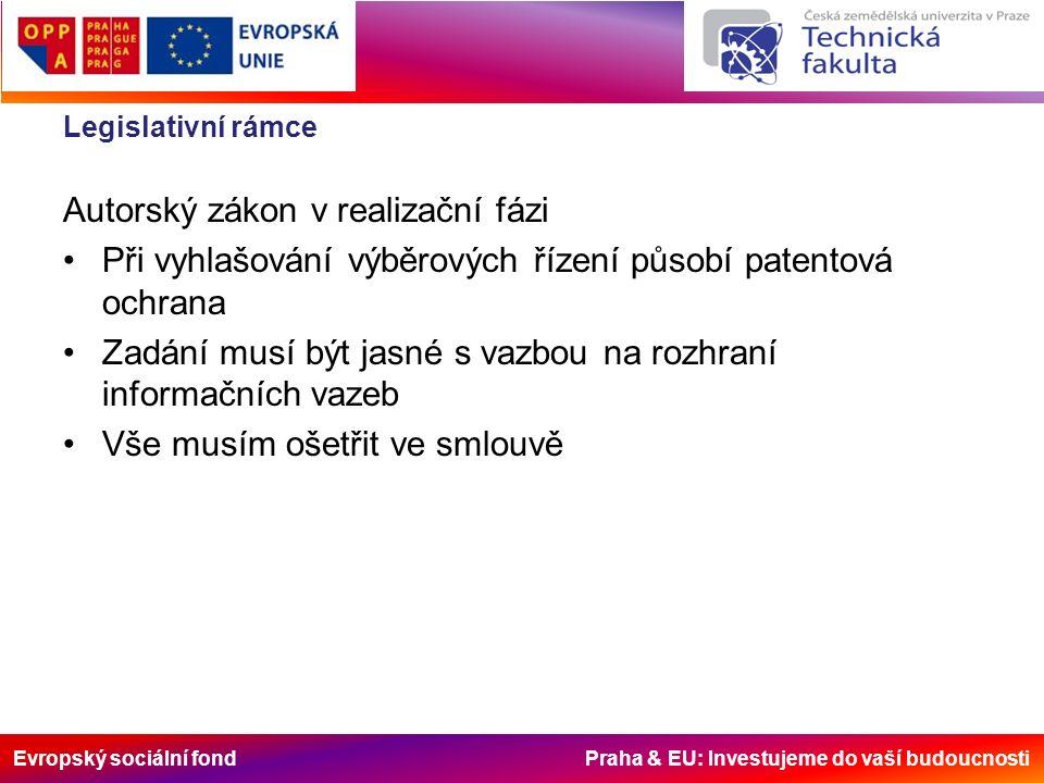 Evropský sociální fond Praha & EU: Investujeme do vaší budoucnosti Legislativní rámce Autorský zákon v realizační fázi Při vyhlašování výběrových řízení působí patentová ochrana Zadání musí být jasné s vazbou na rozhraní informačních vazeb Vše musím ošetřit ve smlouvě