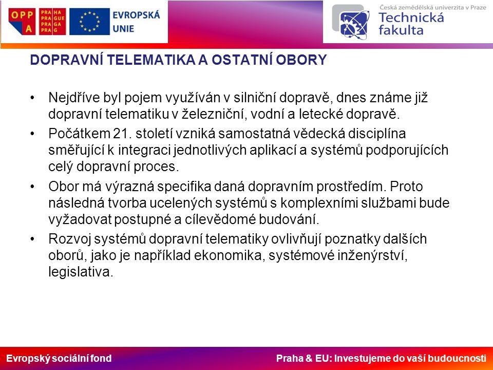 Evropský sociální fond Praha & EU: Investujeme do vaší budoucnosti DOPRAVNÍ TELEMATIKA A OSTATNÍ OBORY Nejdříve byl pojem využíván v silniční dopravě, dnes známe již dopravní telematiku v železniční, vodní a letecké dopravě.