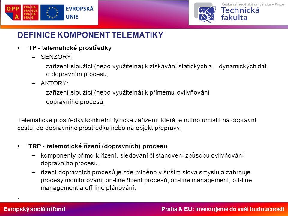 Evropský sociální fond Praha & EU: Investujeme do vaší budoucnosti DEFINICE KOMPONENT TELEMATIKY TP - telematické prostředky –SENZORY: zařízení sloužící (nebo využitelná) k získávání statických a dynamických dat o dopravním procesu, –AKTORY: zařízení sloužící (nebo využitelná) k přímému ovlivňování dopravního procesu.