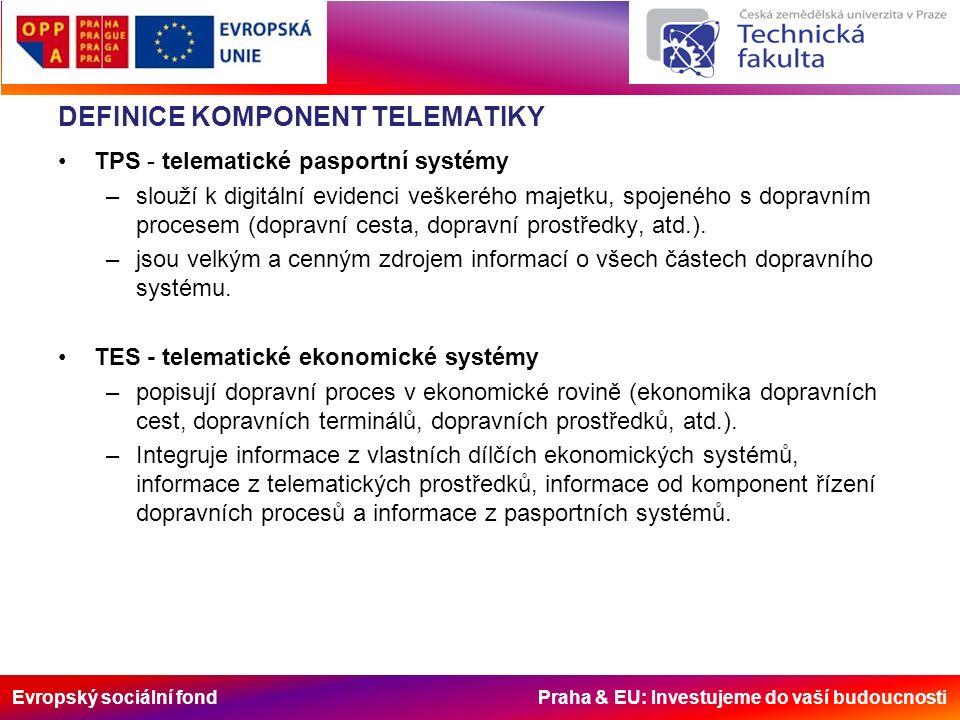 Evropský sociální fond Praha & EU: Investujeme do vaší budoucnosti DEFINICE KOMPONENT TELEMATIKY TPS - telematické pasportní systémy –slouží k digitální evidenci veškerého majetku, spojeného s dopravním procesem (dopravní cesta, dopravní prostředky, atd.).