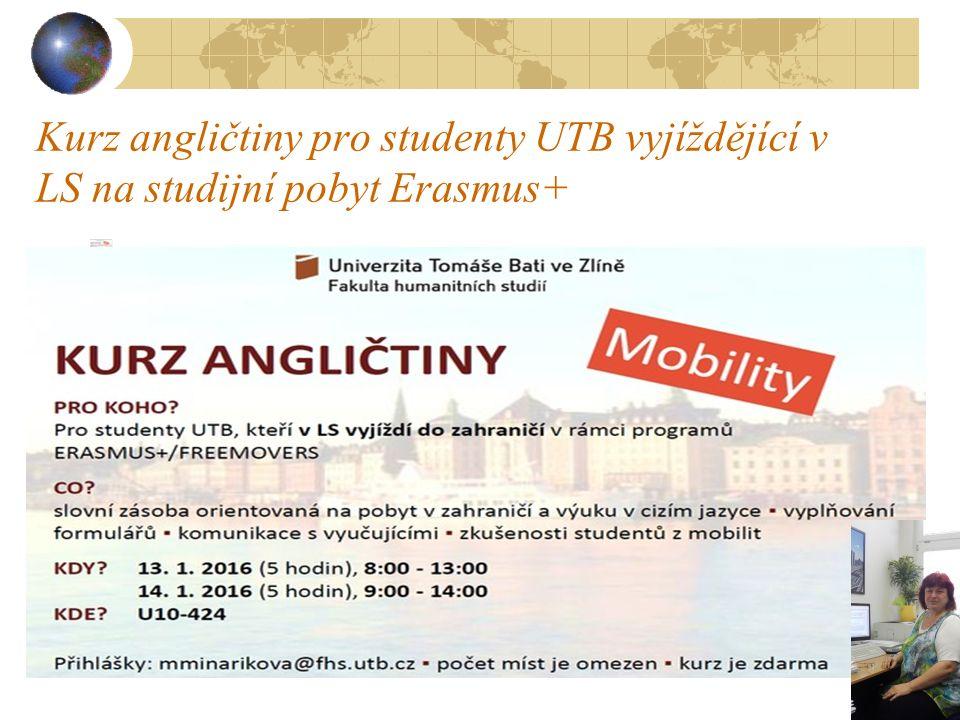 Kurz angličtiny pro studenty UTB vyjíždějící v LS na studijní pobyt Erasmus+