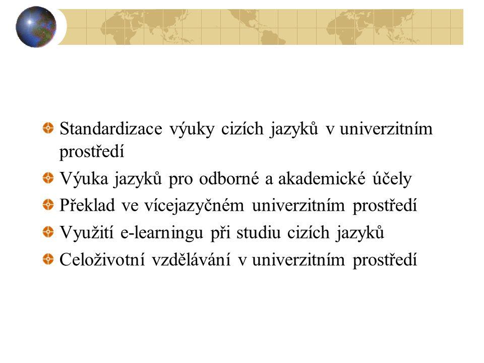 Standardizace výuky cizích jazyků v univerzitním prostředí Výuka jazyků pro odborné a akademické účely Překlad ve vícejazyčném univerzitním prostředí Využití e-learningu při studiu cizích jazyků Celoživotní vzdělávání v univerzitním prostředí