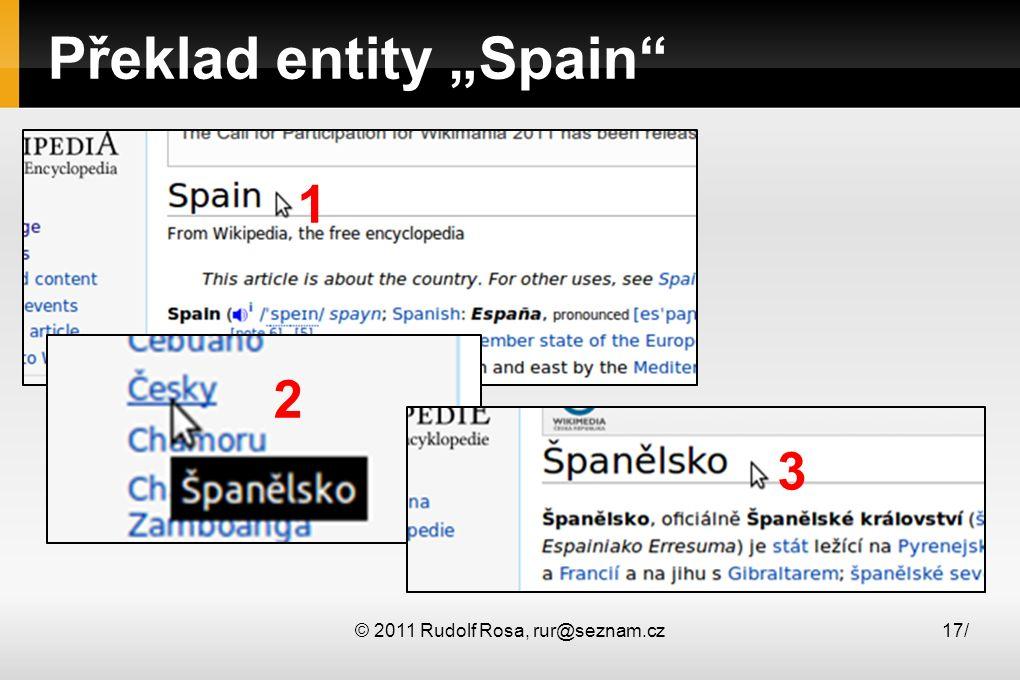 "© 2011 Rudolf Rosa, rur@seznam.cz17/ Překlad entity ""Spain"" 1 2 3"