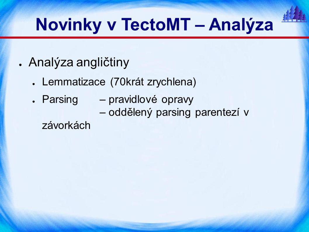 Novinky v TectoMT – Analýza ● Analýza angličtiny ● Lemmatizace (70krát zrychlena) ● Parsing– pravidlové opravy – oddělený parsing parentezí v závorkách