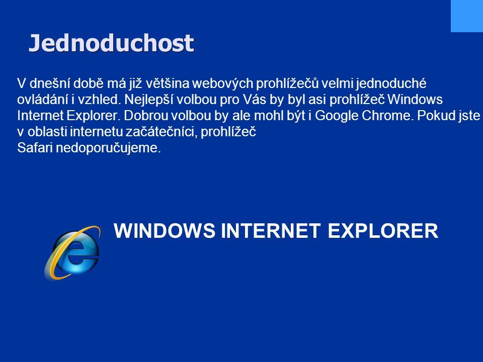 Jednoduchost V dnešní době má již většina webových prohlížečů velmi jednoduché ovládání i vzhled.
