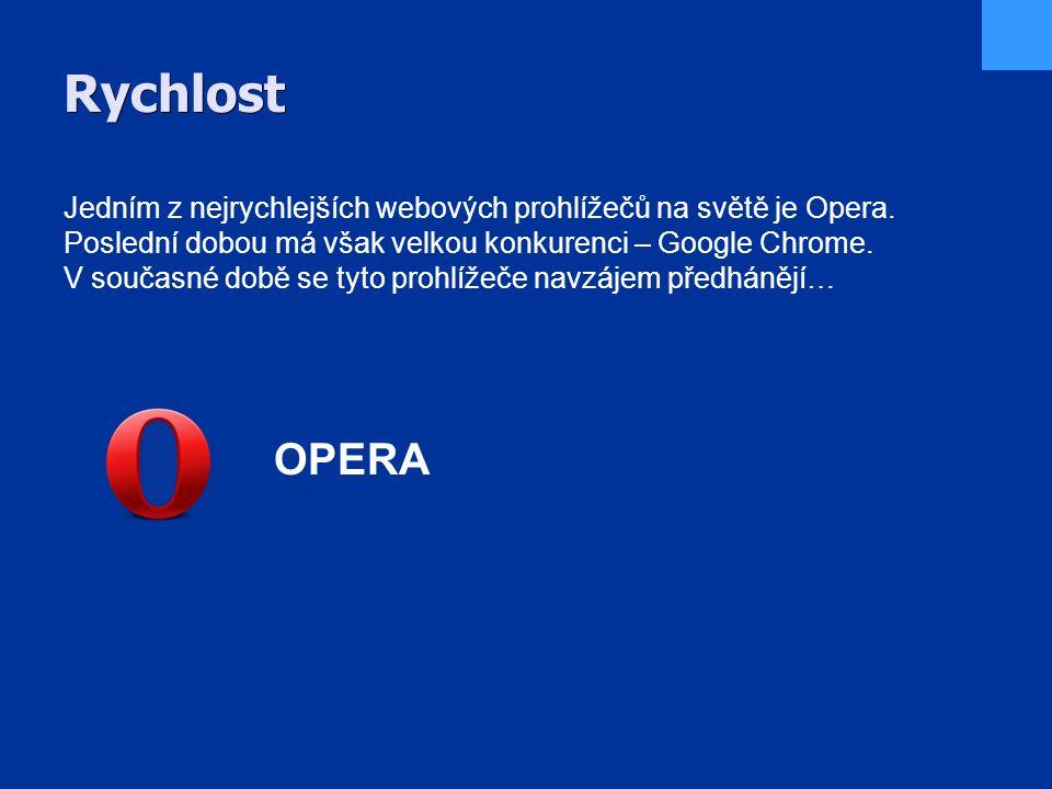 Rychlost Jedním z nejrychlejších webových prohlížečů na světě je Opera.
