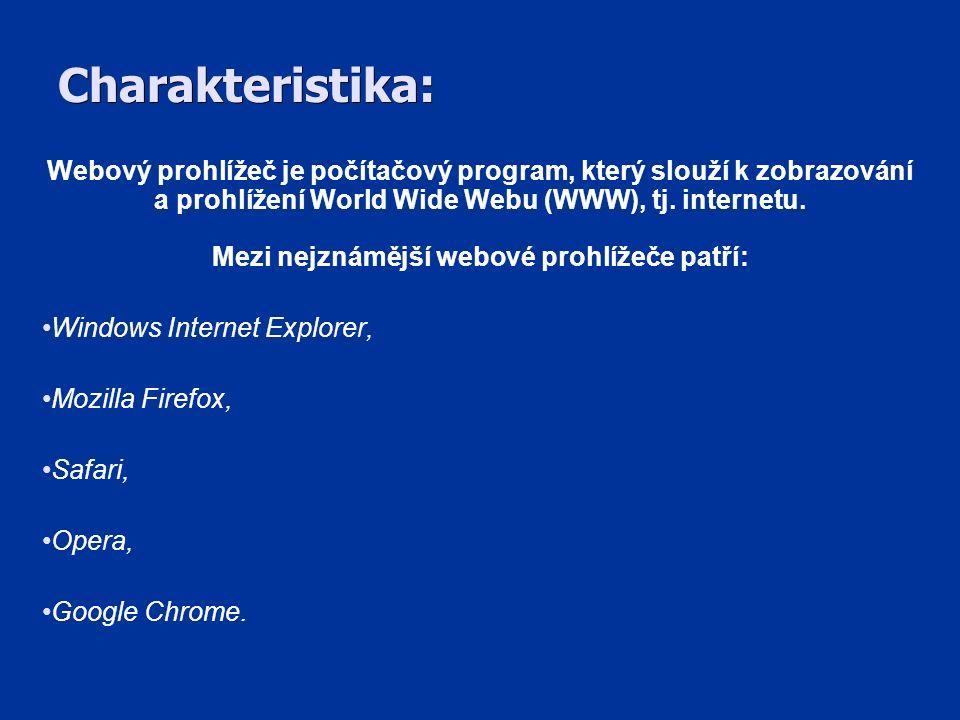 Windows Internet Explorer SPOLEČNOST: Microsoft Corporation JÁDRO: Trident VZNIK: 1995 Windows Internet Explorer, známý zkráceně jako IE webový prohlížeč, je vyvíjen firmou Microsoft a je určen pro grafické uživatelské rozhraní.