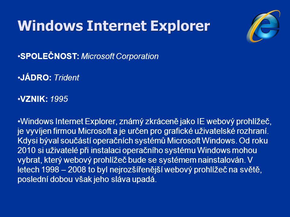 Mozilla Firefox SPOLEČNOST: Mozilla Corporation JÁDRO: Gecko VZNIK: 2004 Mezi populární vlastnosti Firefoxu patří blokování vyskakovacích oken, tzv.