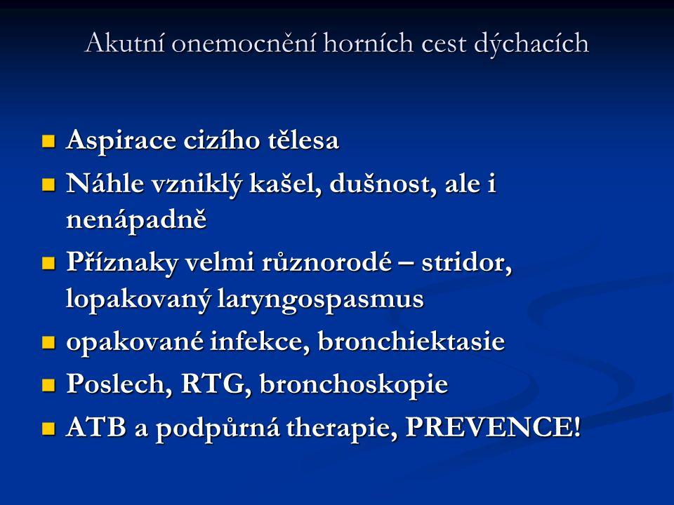 Akutní onemocnění horních cest dýchacích Aspirace cizího tělesa Aspirace cizího tělesa Náhle vzniklý kašel, dušnost, ale i nenápadně Náhle vzniklý kaš